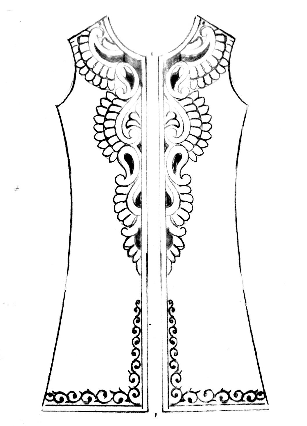 Latest design sketch for gent's emroidery design/Panjabi designing images free download.