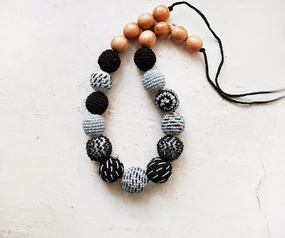 Gray and Black Crochet Necklace by Little Sweet Candy Shop