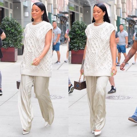 Rihanna Wears Fall 2016 Dries Van Noten Cashmere Sweater