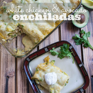 Creamy White Chicken and Avocado Enchiladas