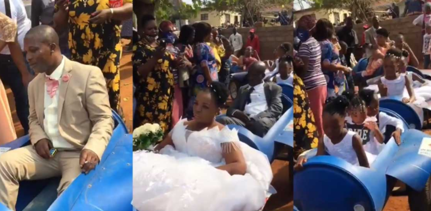 """Bride, groom and their entourage arrive their wedding venue in a """"limousine"""" made from plastic barrels (video)"""