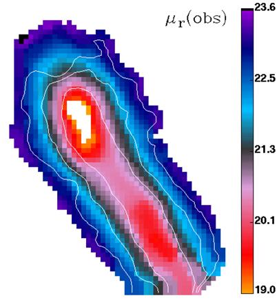 mapa do brilho à superfície da galáxia NGC 3991