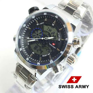 Swiss army Double time silver list Hitam