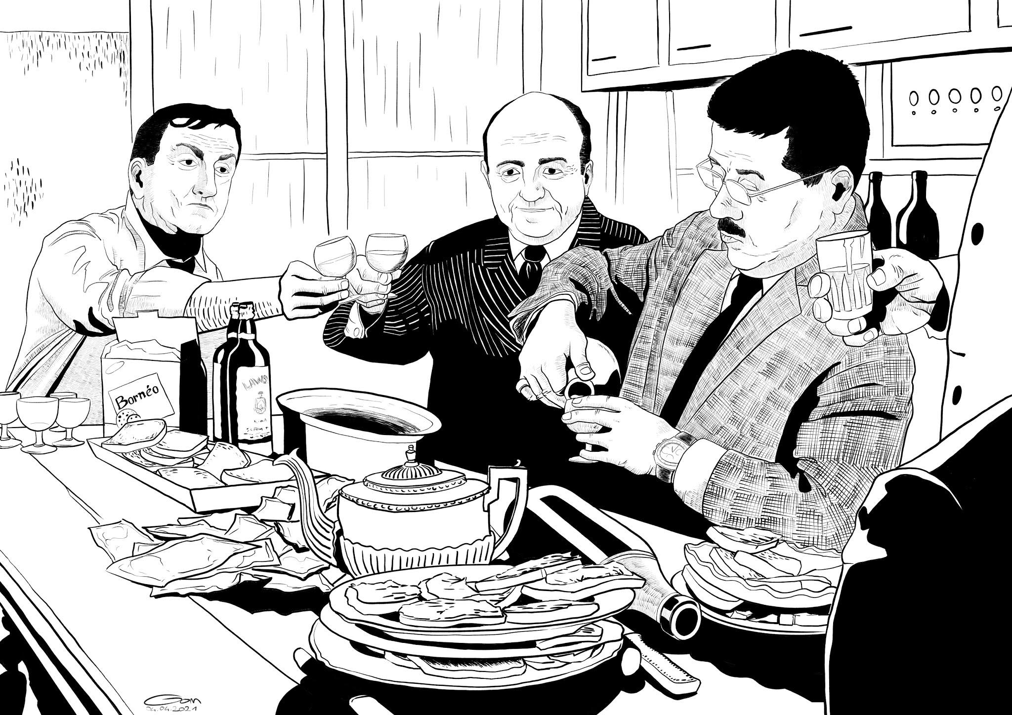 Scène de la cuisine du film Les Tontons flingueurs avec Lino Ventura, Bernard Blier, Francis Blanche