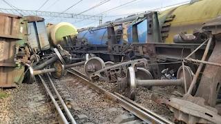 Столкновение поездов РЖД на станции Гатчина-Товарная-Балтийская