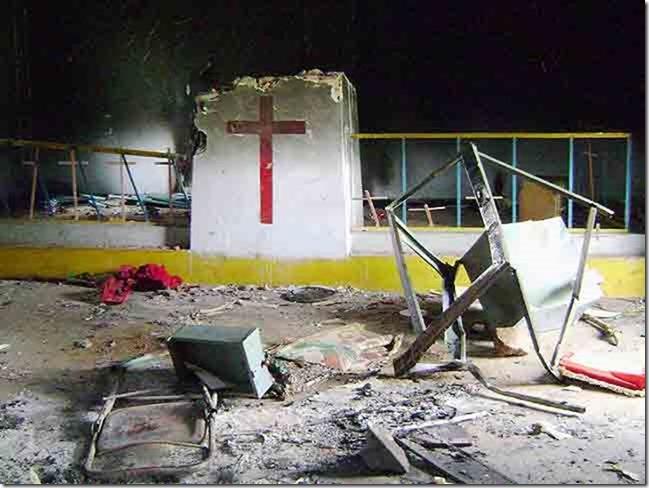 Zerstörte Kirche in Indien