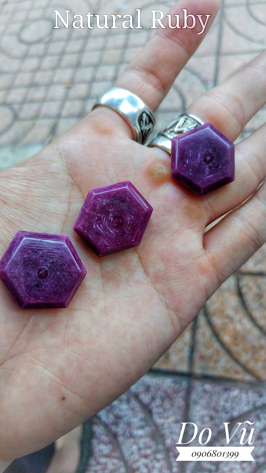 Đá quý Ruby thiên nhiên, Natural Ruby chế tác hình lục giác