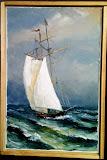 gafel na morzu, olej, płótno,szpachla, 27/41cm