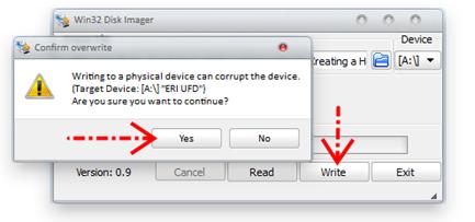 Klik tombol write dan yes