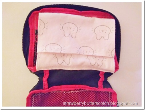 Sew the pouch into the case along the bottom edge.