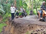 Jalam Utama Masih Rusak Parah, Jalan Alternatif Penghubung Desa Sirnajaya Amblas