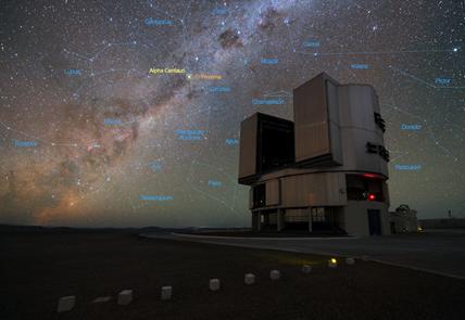 o Very Large Telescope e o sistema estelar Alfa Centauri