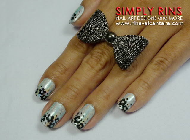 Black Flowers Nail Art Design