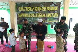 Menggelar Jum'at Berkah Kodim 0819/Pasuruan Berikan Santunan dan Doa Bersama Anak Yatim