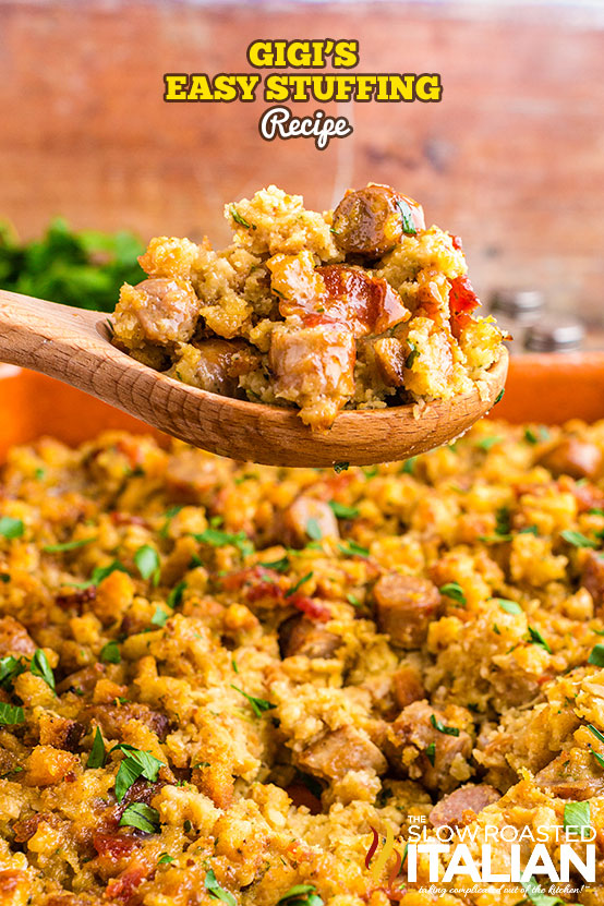 Gigi's Easy Stuffing Recipe on a wooden serving spoon