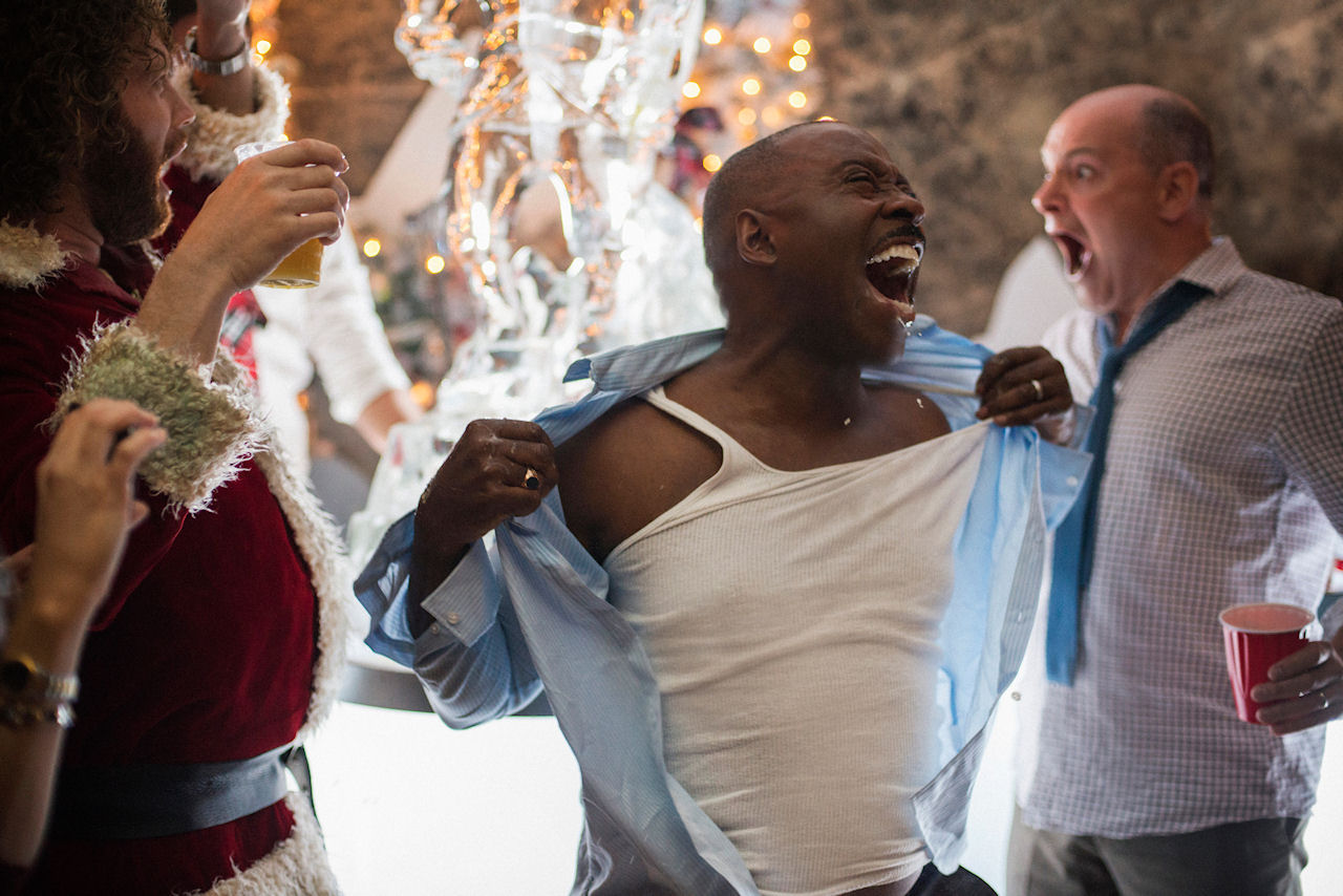 (L-R) T.J. Miller as Clay Vanstone, Courtney B. Vance as Walter and Rob Corddry as Jeremy in OFFICE CHRISTMAS PARTY. (Photo by Glen Wilson / courtesy of Paramount Pictures).