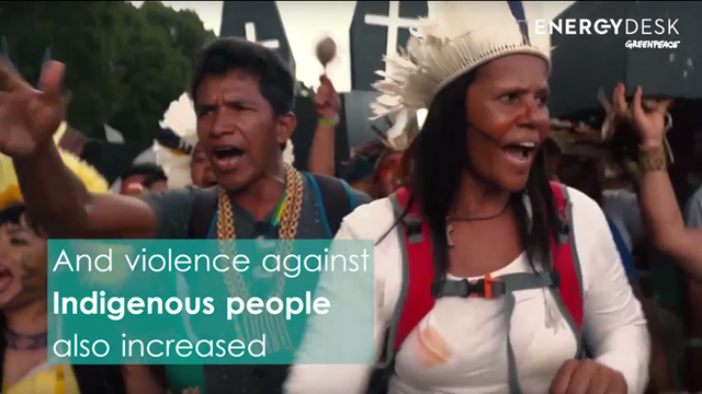 Indigenous people protest a significant increase in the number of environmental activists killed over land disputes in Brazil, as human rights experts warn of a dangerous political mood in the nation. Photo: Greenpeace Energydesk
