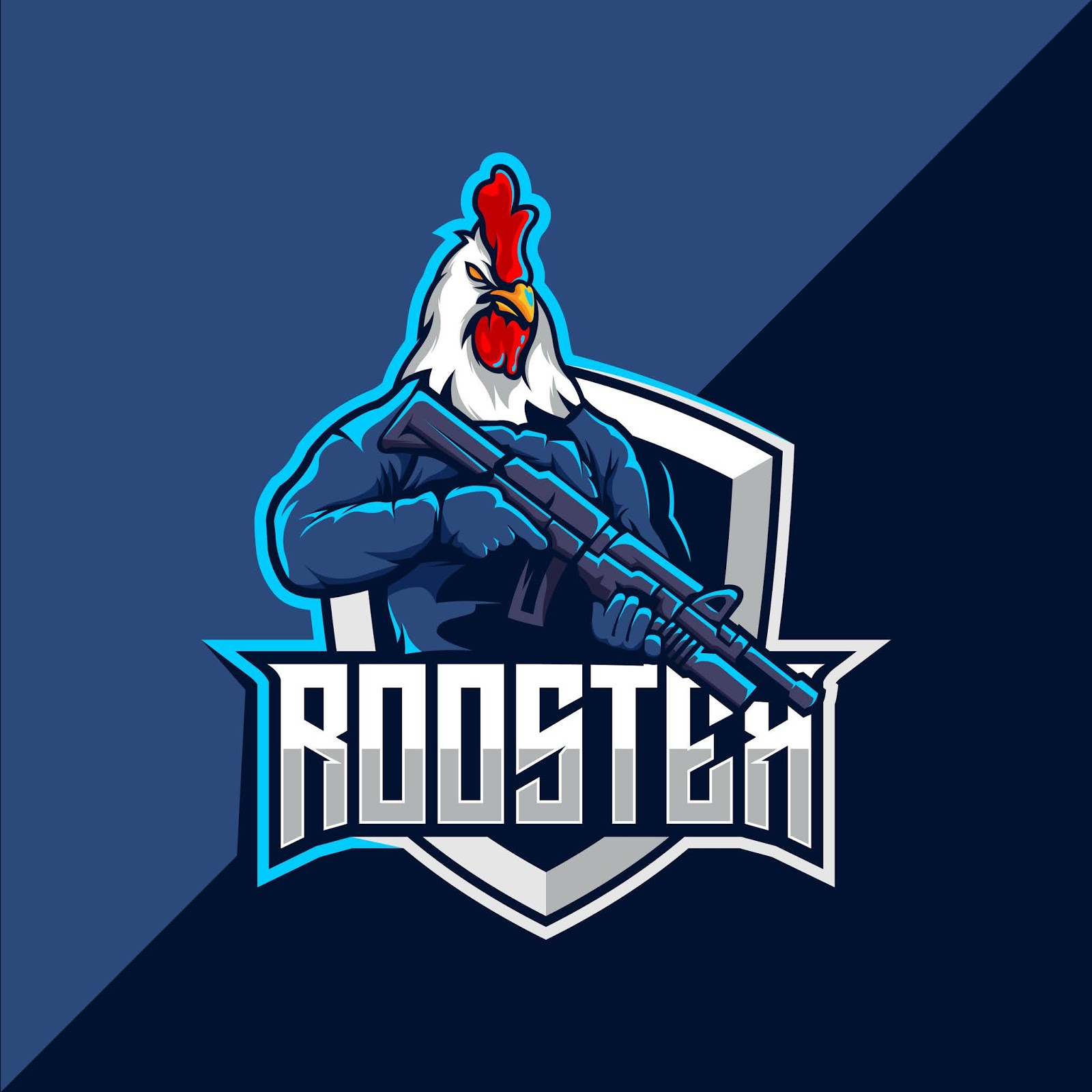 Rooster With Gun Esport Mascot Logo Design Free Download Vector CDR, AI, EPS and PNG Formats