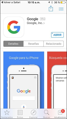 App de Google para iOS