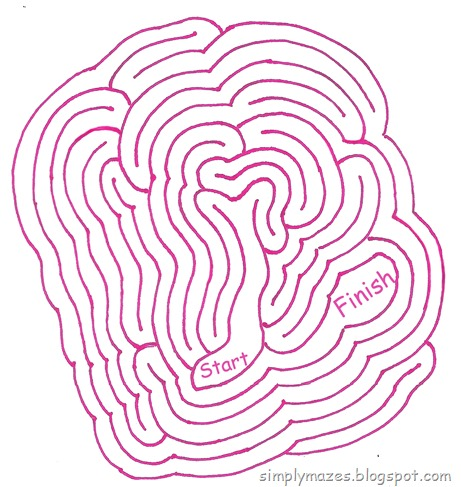 Maze Number 126: Extraterrestrial.  A printable pink alien maze?