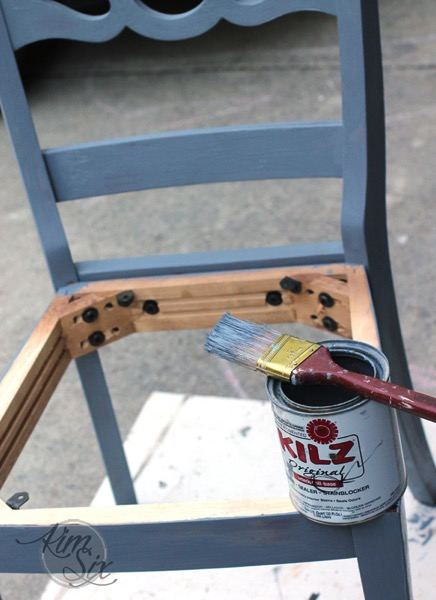 Priming desk chair for repainting