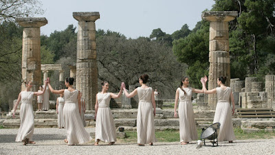 OLYMPIA, GREECE - MARCH 24:  The Priestesses in the Temple of Ira during the Lighting Ceremony of the Olympic Flame at Ancient Olympia on March 24, 2008 in Olympia,Greece.  (Photo by Milos Bicanski/Getty Images)