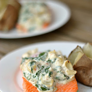 Artichoke and Spinach Roasted Salmon.