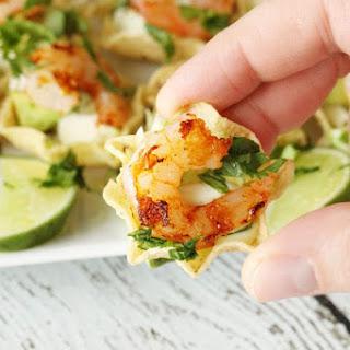 Shrimp Taco Bites with Cilantro Cream Sauce.