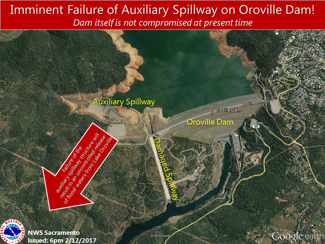 Graphic showing the auxiliary spillway failure on the Oroville Dam, at 6:08pm on 12 February 2017. The dam itself was not compromised. Graphic: NWS Sacramento