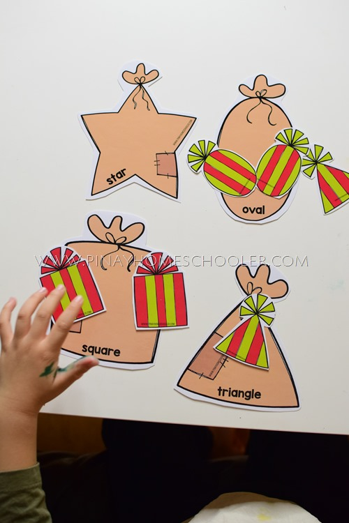 Christmas Themed Shapes Sorting Activity