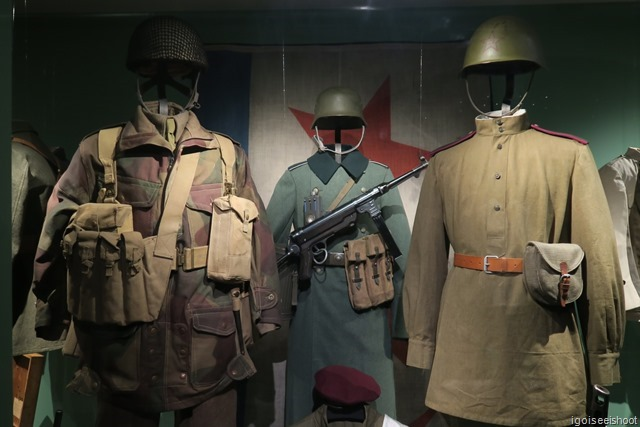 Uniforms worn by British Paratroopers, German soldier and Russian Soldier during WW2