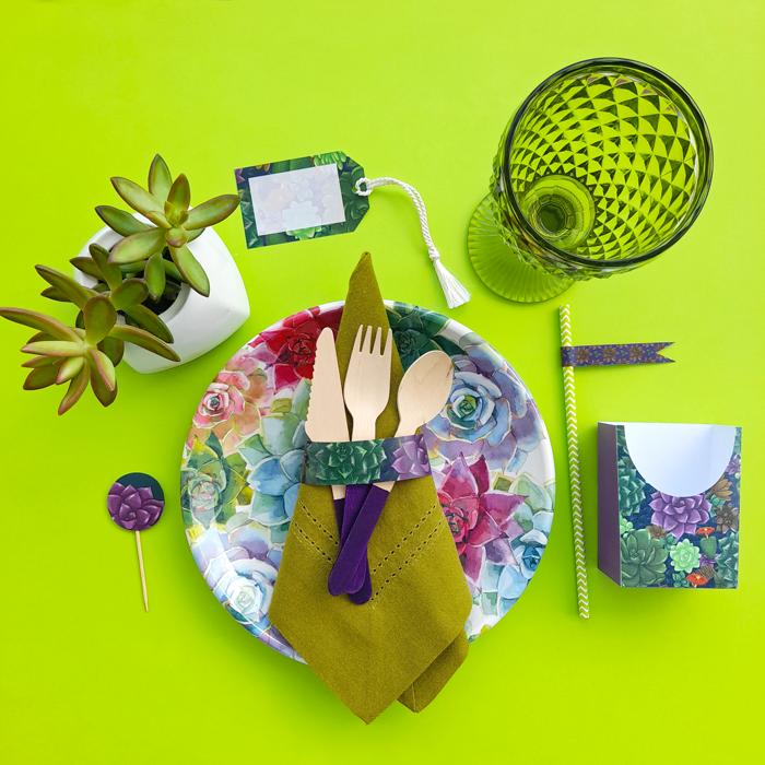 mesa, puesto, suculentas, copa, estampado, almuerzo, brunch, picnic, fiesta de té de jardín, comida, decoración, verano, primavera, estampado, servilletero, estiqueta, topper, bolsillo, sobre