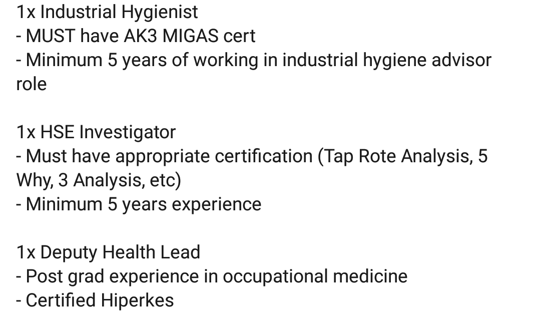 Oil And Gas Jobs Hse Investigator Industrial Hygienist And Deputy