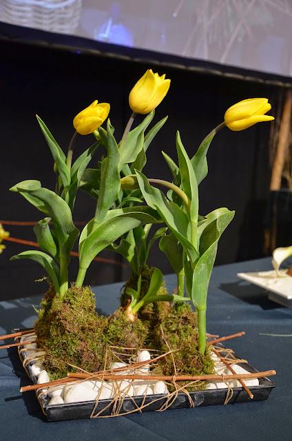 La sobrietat i minimalista de les tulipes queda reforçada per la base amb pedres blanques.