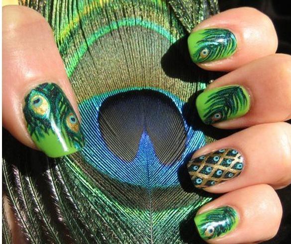 Peacock Feather Nail Art Designs Ideas 2017 - Styles Art