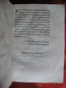 Licencia para la edición de Zaragoza, a cargo de Pedro Cerbuna, fundador de la Universidad de Zaragoza.