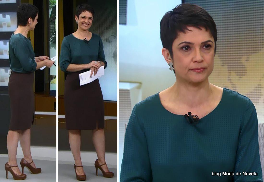 moda do programa Jornal Hoje - look da Sandra Annenberg dia 13 de junho