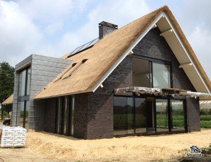 Elegancki nowoczesny budynek ze spadzistym dachem trzcinowym i dużą ilością dużych okien