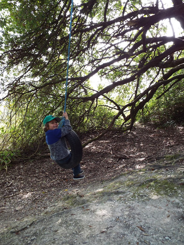 Ahren on a tyre swing