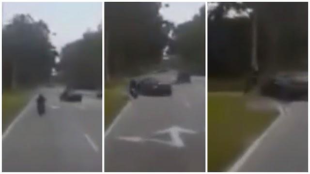 Penunggang motosikal tercampak, kereta 'pancung lorong'