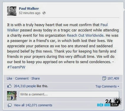 "Nam diễn viên Paul Walker trong ""Fast & Furious"" qua đời - DIENANH24G Nam diễn viên Paul Walker trong ""Fast & Furious"" qua đời"