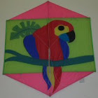 Parrot painted rock kite