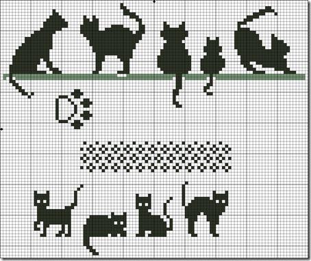siluetas gatos punto de cruz monocromo  (15)