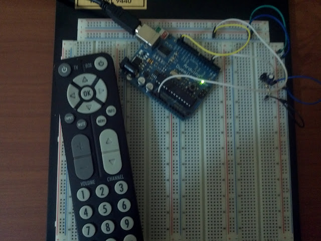 an Arduino, remote control, and infrared sensor circuit