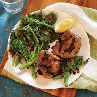 Pork Tenderloin Medallions with Blistered Broccoli Rabe