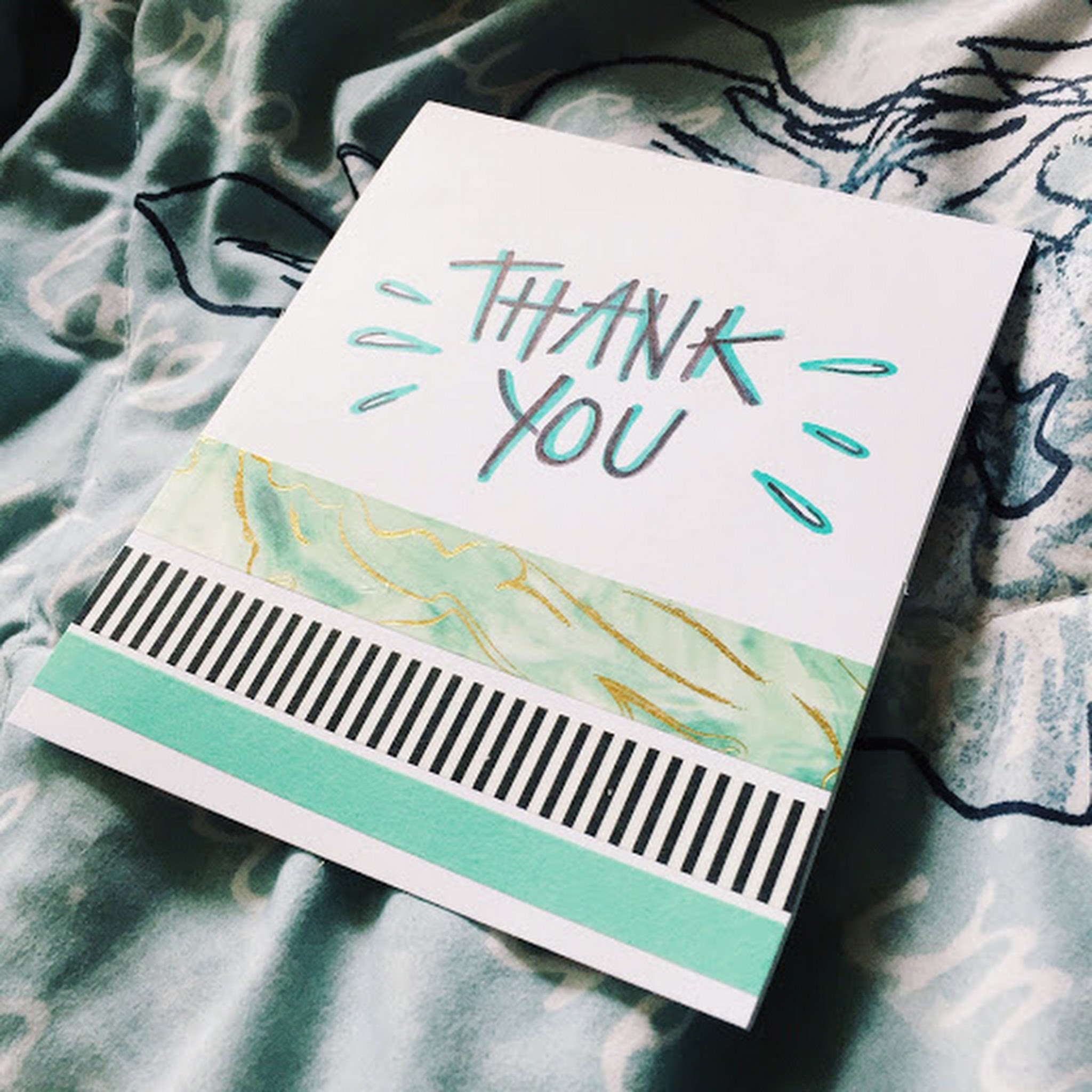 thank- you card // blues + washi tape