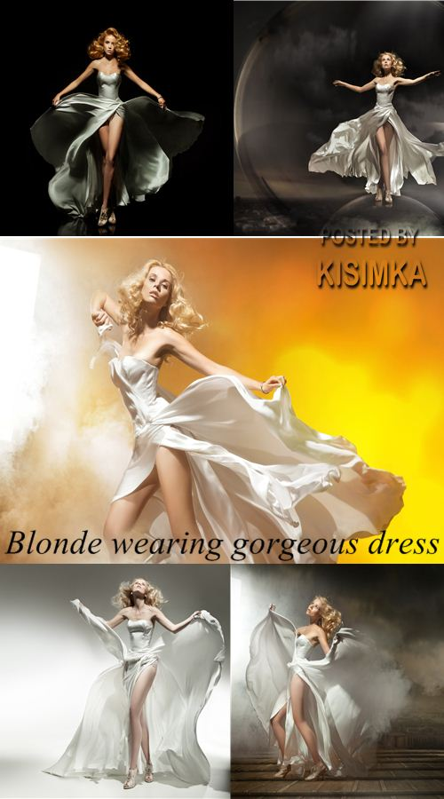 Stock Photo: Blonde wearing gorgeous dress