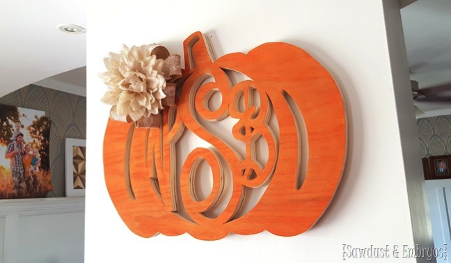monogrammed scroll saw pumpkin