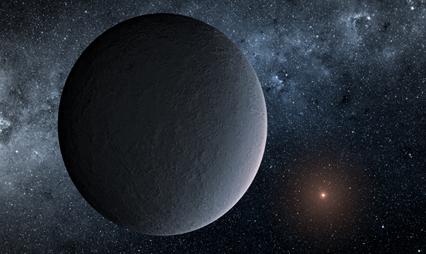 ilustração de gélido exoplaneta encontrado através de microlentes