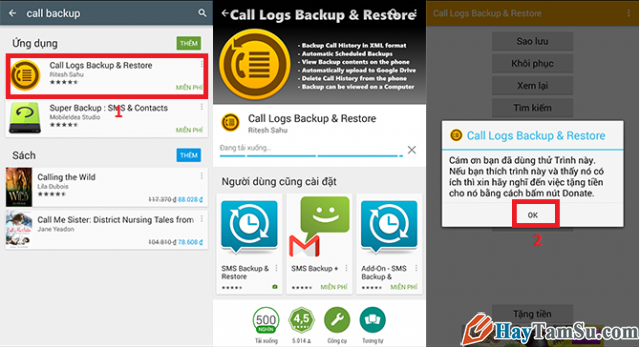 Cài đặt Call log backup and restore